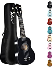 ADM Beginner Ukulele 21 Inch Soprano Kids Starter Pack Student Bundle Child Kit with Gig bag and Strap, Black