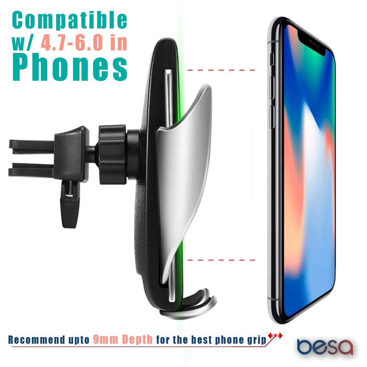 BESA Wireless Car Charger Air Vent Auto-Clamping Mount Holder with 10W Qi Wireless Charging Compatible with iPhone 8 X XS Samsung S7 S8 S9 S10 /& Other up to 6 INCH Phones