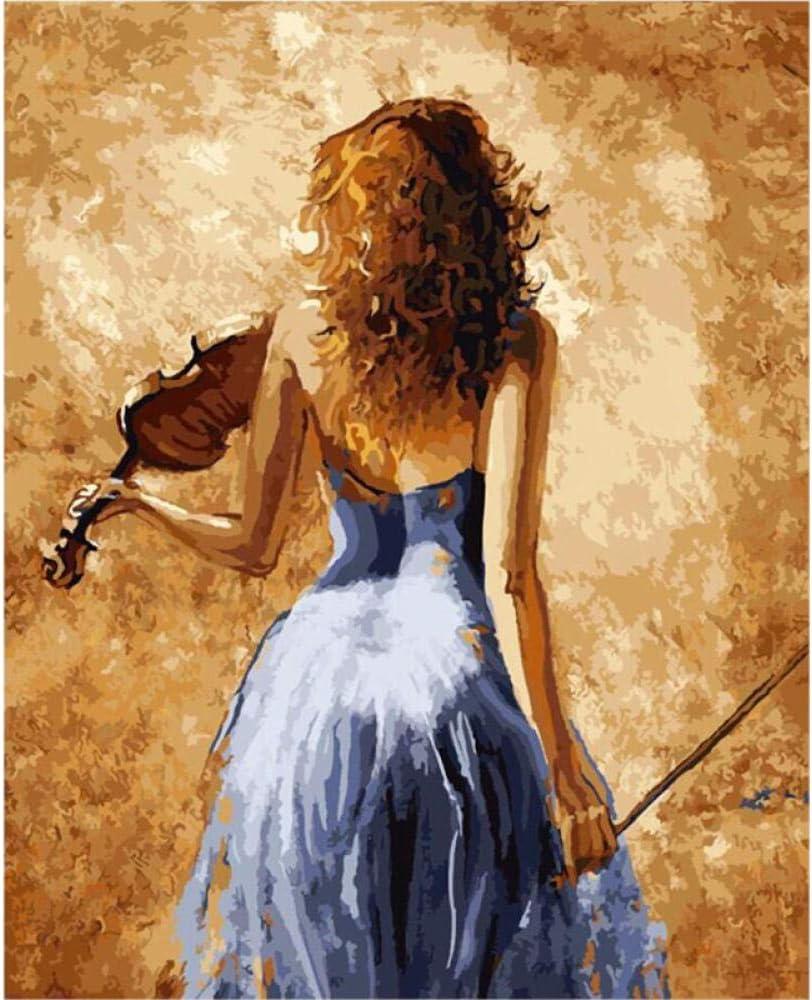 IJBSDJI Bricolaje Pintura por Números Kit, Pintar por Numeros con Pinceles Y Pinturas para Adultos Y Niños, para Decoraciones para El Hogar- Violinista 40Cmx50Cm(Sin Marco)