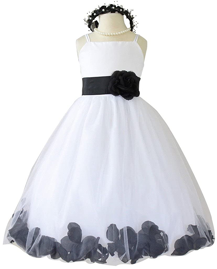 f8323b1943a Flower Girl Dress Rose Petal Style. Custom Colors. Available with Ivory or  White base dress. High quality satin fabric for top dress.