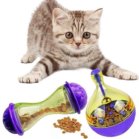 2 PCS Dispensador de Pelota para Gatos Juguete Catapulta Interactiva de Comida para Pet Cat Feeder