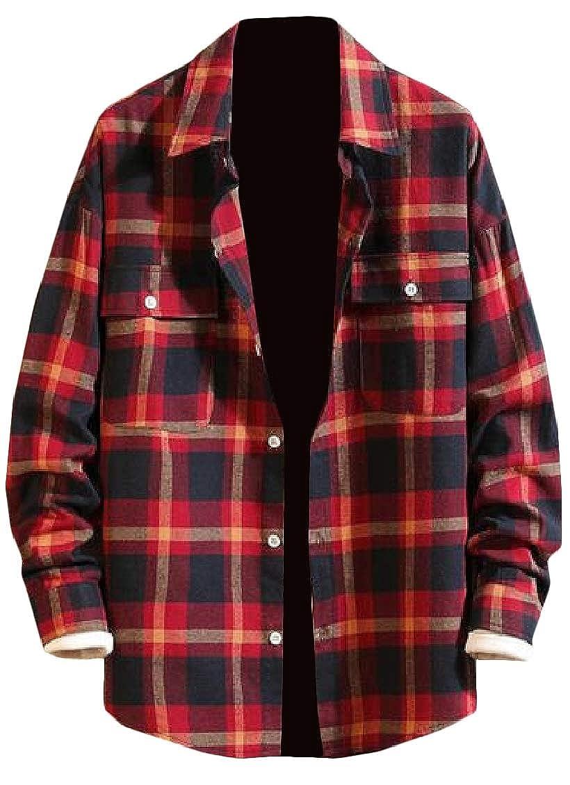 Hajotrawa Mens Notched Casual Button-Down Plaid Long-Sleeve Shirt