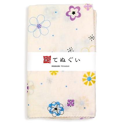 KOMESICHI Irodori Tenugui - Toalla de mano de gasa japonesa, diseño de flores
