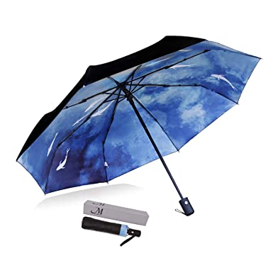 92cf6f921481c Amazon.com: Marriarics Travel Umbrella Windproof, Black Glue Anti UV  Coating, Compact Folding Umbrellas for Women Men, Auto Open Close (Ink and  Wash): ...