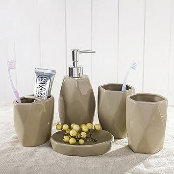 HYLR Europäischer Stil Einfache Keramik Waschanzug Bad 5 Stück ...