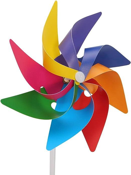 Haven Shop 6 piezas molinillo de viento, molinillo de viento para jardín, decoración de jardín, molino de viento de rueda de arcoíris, molinillo de viento, remolino, regalo de Navidad para niños: Amazon.es: