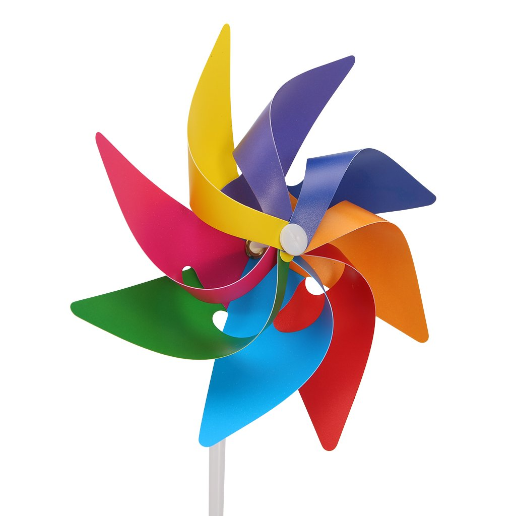 GMSP 8-leaf Colorful Windmill, 11.2×6.3in Wind Spinner Decor Kids Toy Garden Yard Party Camping.