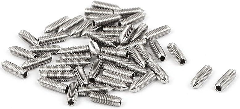 uxcell M4x16mm Metric 304 Stainless Steel Hex Socket Set Cup Point Grub Screws Silver Tone Towel Rack Door Knob 30pcs