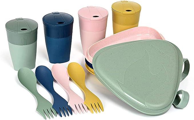 Light My Fire Vajilla Camping 4 Personas - Kit Picnic 13 Cubiertos Camping - Vajilla Plastico Reutilizable 100% sin BPA - Microondas y Lavavajillas - ...