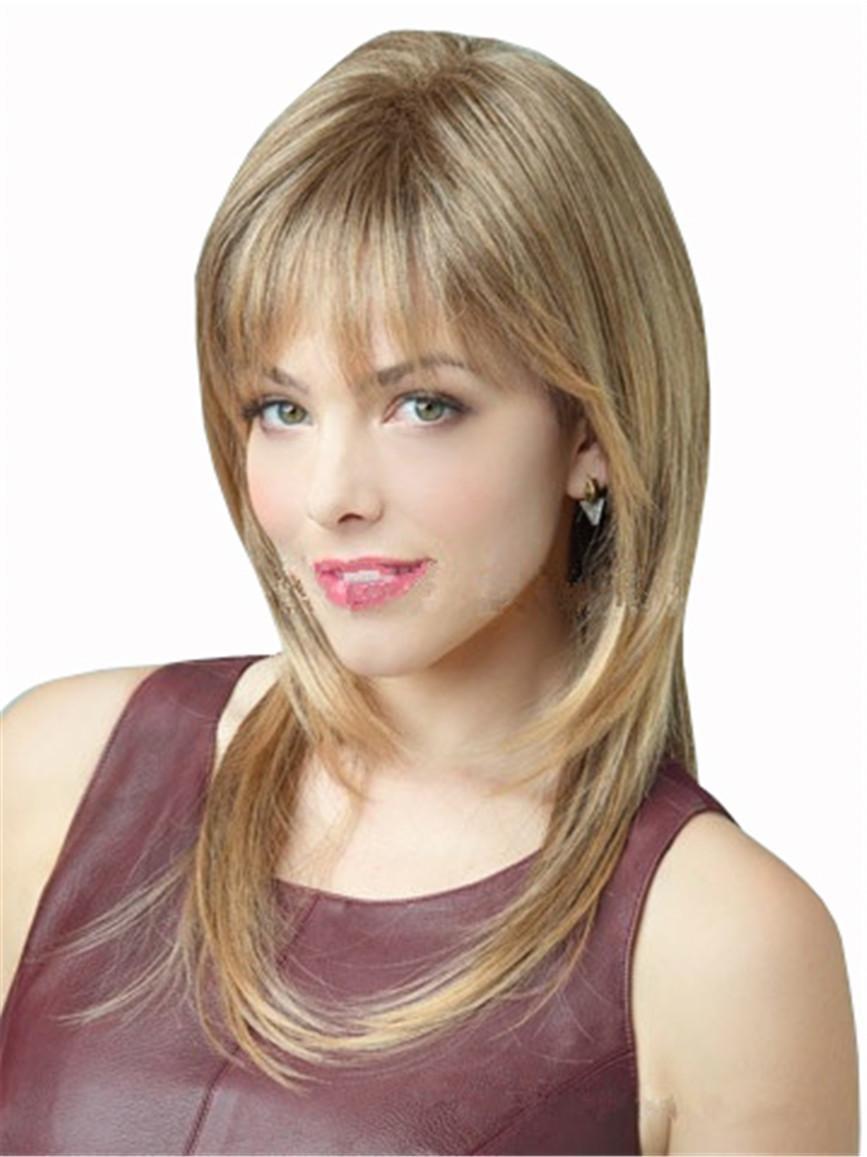 Moda De Las Mujeres Europeas Y Americanas De Alto Nivel De Color Marrón Claro Cabello Largo Largo Largo Peluca Sintética De Alta Calidad De Resistente Al Calor GZX Hair