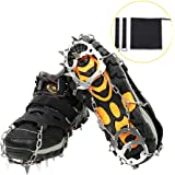 Suxman Ice Crampons, Heavy Duty 18 Teeth Stainless Steel Anti Slip Traction Ice Cleats/Ice Spikes/Snow Grips Shoes and Boots for Outdoor Walking Hiking Camping Mountaineering Climbing Hunting