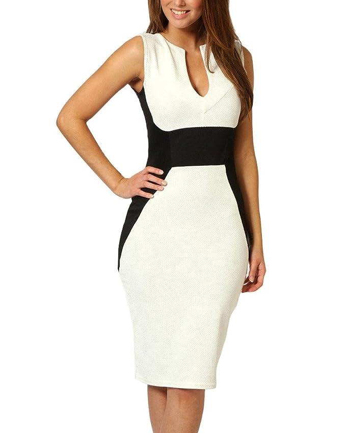 Minetom Damen Elegant V-Ausschnitt Ärmellos Schößchen Spleißen Slim Stretch  Abendkleid Cocktail Kleid: Amazon.de: Bekleidung