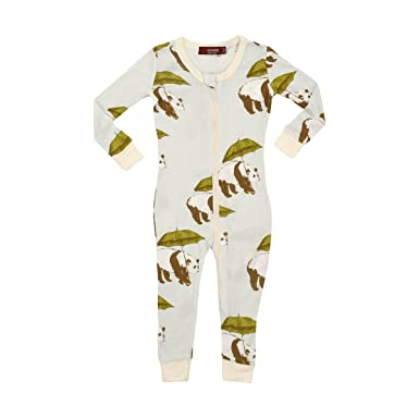 56e70ec5d Amazon.com  MilkBarn Bamboo Zip Pajamas - Blue Panda  Clothing