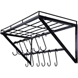 OROPY Wall Mounted Pot Rack Storage Shelf with 2 Tier Hanging Rails 12 S Hooks included, Ideal for Pans, Utensils…