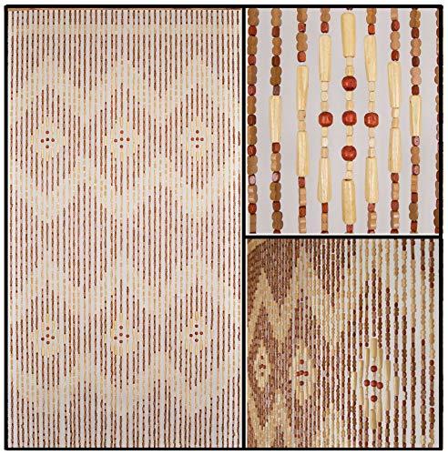 BeadedString Natural Wood and Bamboo Beaded Curtain-45 Strands-77 High-Bamboo and Wooden Doorway Beads-Boho Bohemian Curtain-35.5