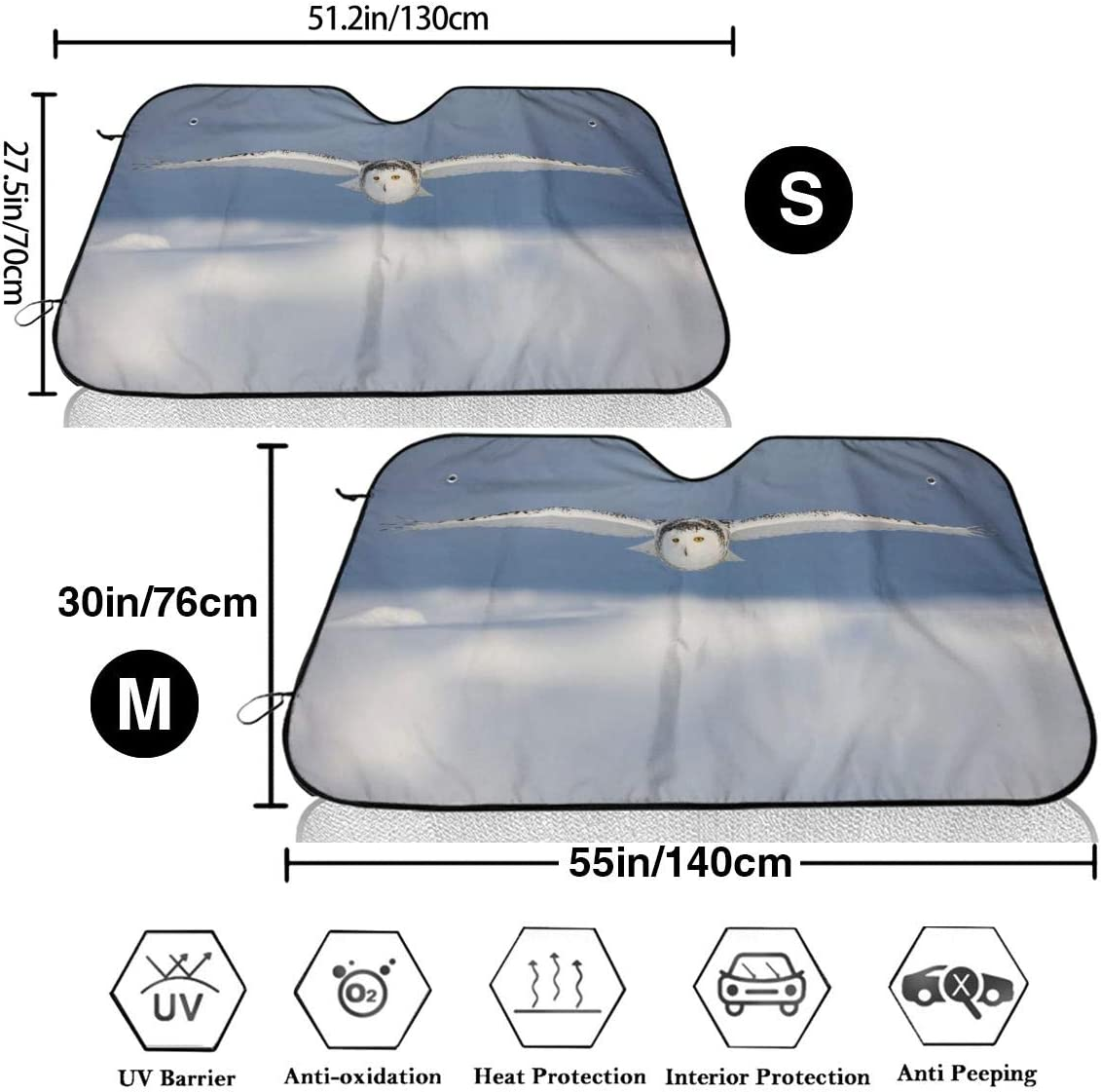 All Season Protection Fits for Most Vehicles Homlife Universal Fit Windshield Sunshades Cover for Cars Winter Summer Alarm Clock Visor Curtain