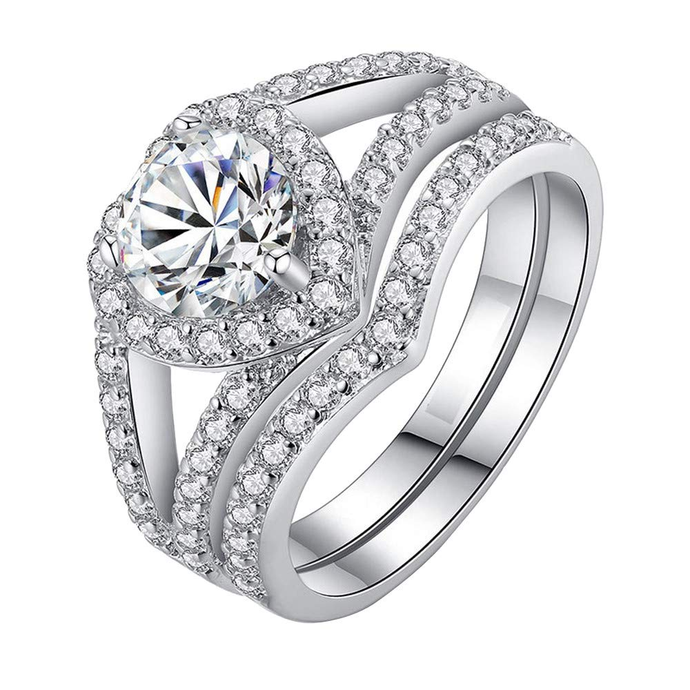 Women Rings,Yamally Lady's 2-in-1 Zirconia Ring Creative Set Ring Accessories Engagement Wedding Diamond Rings