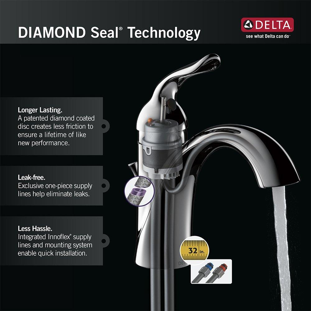 Chrome Less Pop-Up Delta 500-WCS-DST Classic Single Handle Centerset Bathroom Faucet
