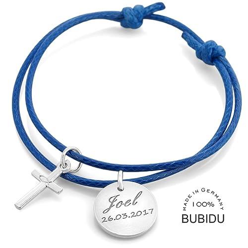 Taufarmband Junge Mit Gravur Kreuz Blau Armband