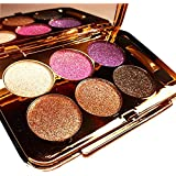 BeautyXTP Women Waterproof 6 Colors Make UP Glitter Eyeshadow Palette with Brush