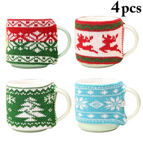 - Christmas Cup Sleeve Reusable Snowflake Christmas Tree Elk Decor Mug Sleeve Coffee Cup Cozy Xmas Gift