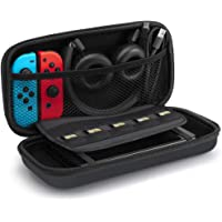 SLEO Bag for Nintendo Switch Lite Carrying Case,Large Capacity Protective Hard Shell Travel Carrying Case Pouch with 8 Game Cartridge for Nintendo Switch Lite & Other Accessories - Black