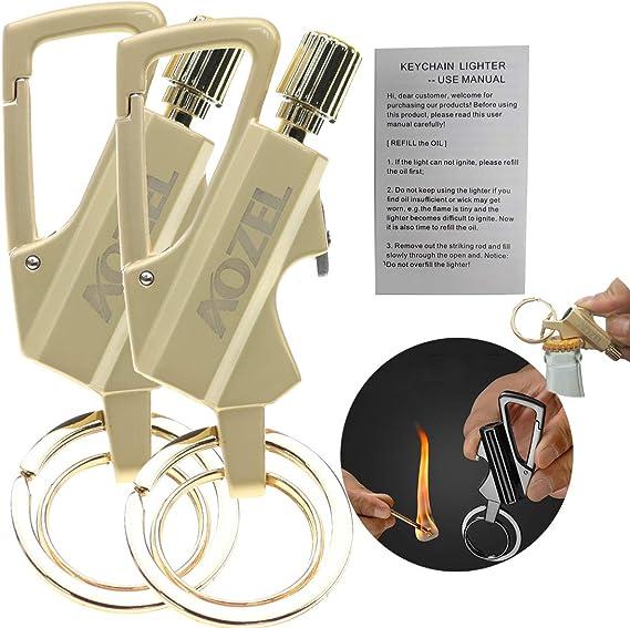 Lampelc Keychain Flint Metal Matchstick Fire Starter Bottle Opener ...