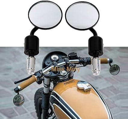 Nrpfell Specchietti Retrovisori per Motocicletta Rotondi da 7//8 Pollici Manubrio per Motocicletta Specchi Retrovisori per Specchietti Retrovisori?Nero Cafe Racer Accessori Moto