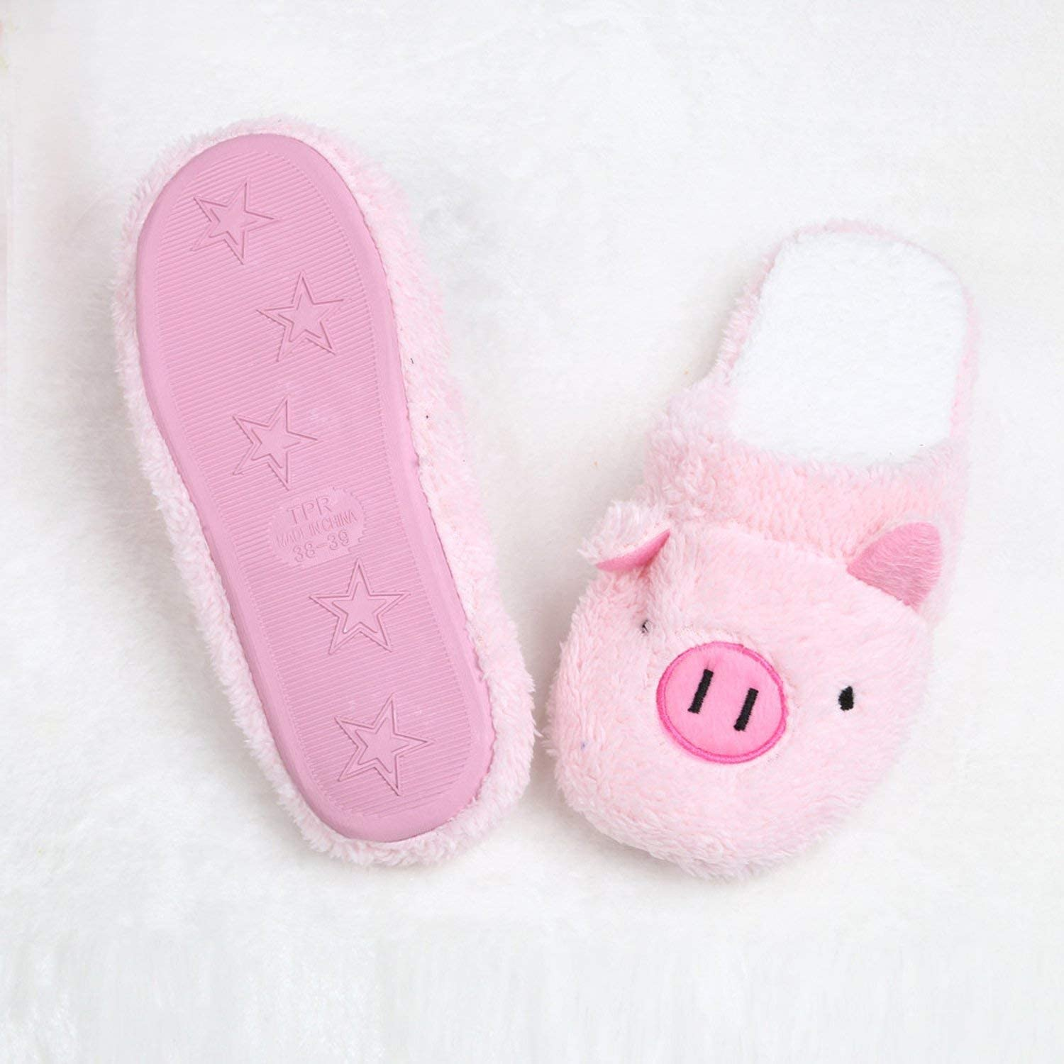 SATOSHI DUN Women Flip Flop Cute Pig Shape Home Floor Soft Stripe Slippers Winter Spring Warm Shoes,Pink,5.5,