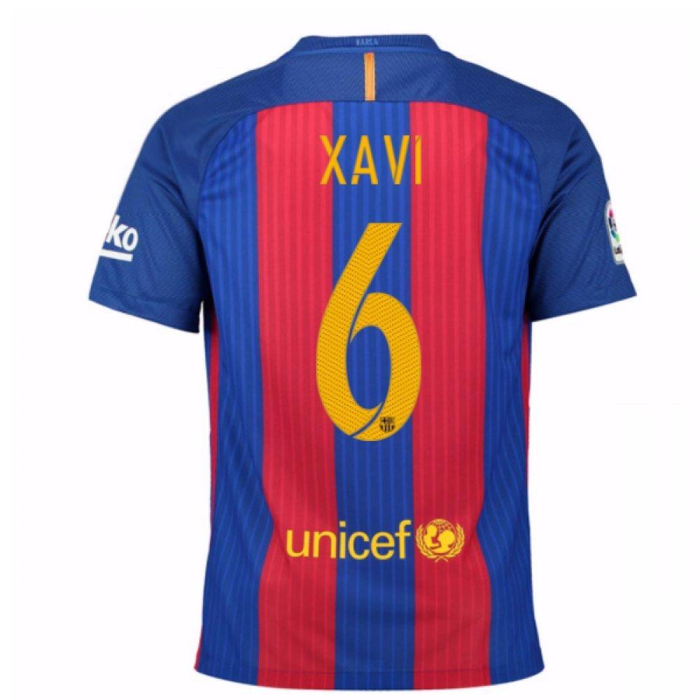 2016-17 Barcelona Home Football Soccer T-Shirt Trikot (Xavi 6) - Kids