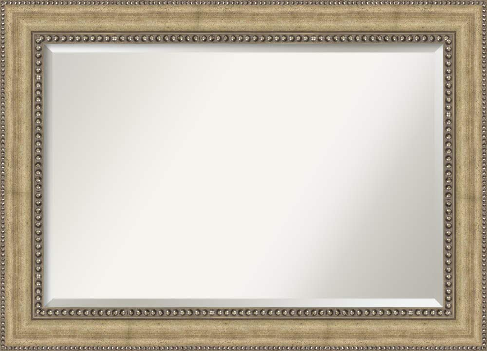 Framed Vanity Mirror | Bathroom Mirrors for Wall | Astoria Champagne Mirror Frame | Solid Wood Mirror | Large Mirror | 31.00 x 43.00''