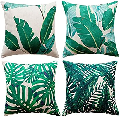 Gspirit 4 Pack Tropical Hojas Algodón Lino Throw Pillow Case Funda de Almohada para Cojín 45x45 cm: Amazon.es: Hogar
