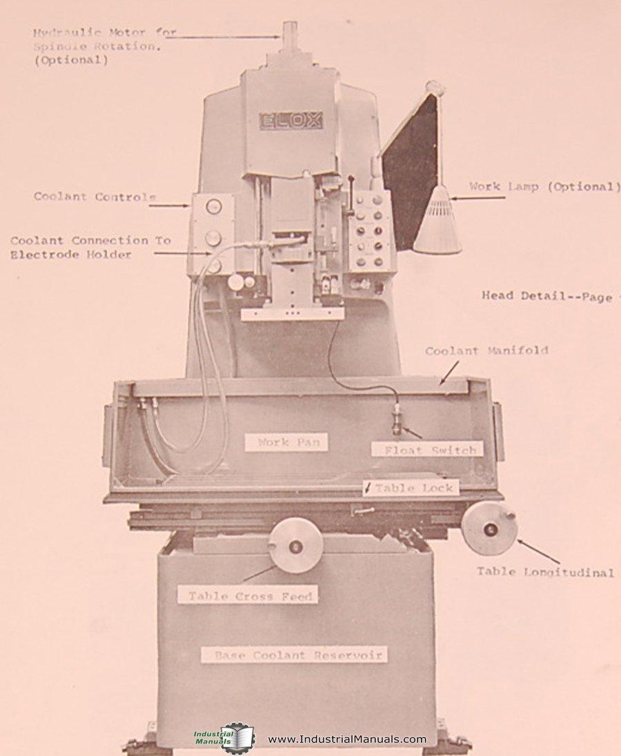 Elox 12-2816, 12-2814, EDM Machine, Instructions and Parts Manual: Elox:  Amazon.com: Books