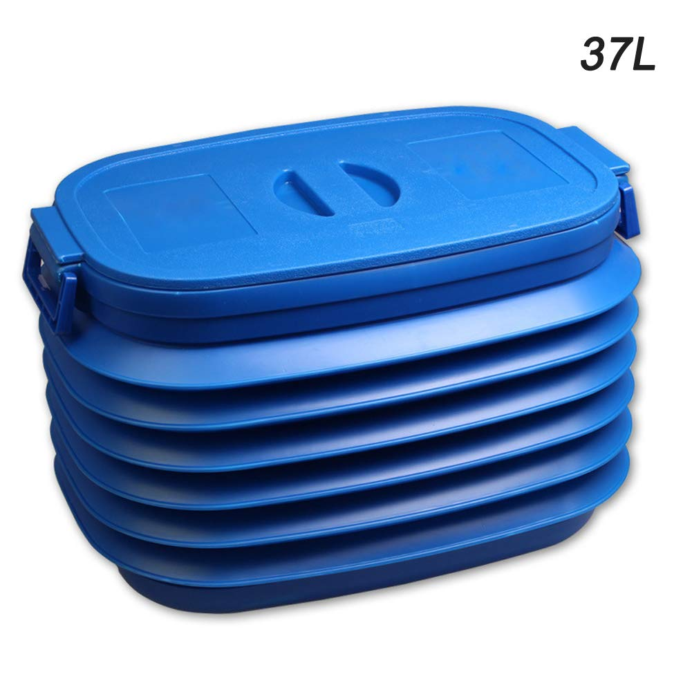 37L Car Folding Collapsible Bucket Fishing Bucket Of Container Storage Box Blue LHYP