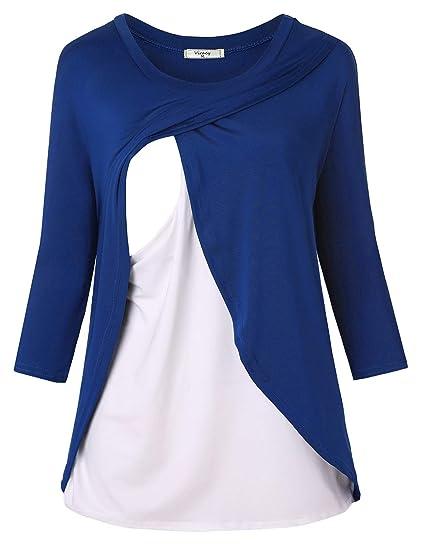 580a1d9a4b50b Viracy Nursing Tops, Maternity Tunic for Women Fall Nursing Shirt 3/4  Sleeve Breastfeeding
