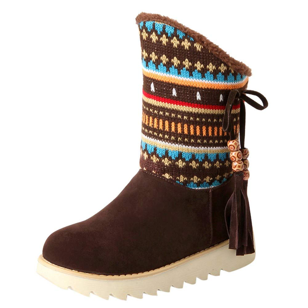 Red Ta Women Warm Winter Retro Tassel Folk-custom Graphic Embroidery Ankle Snow Boots Round Toe Shoes