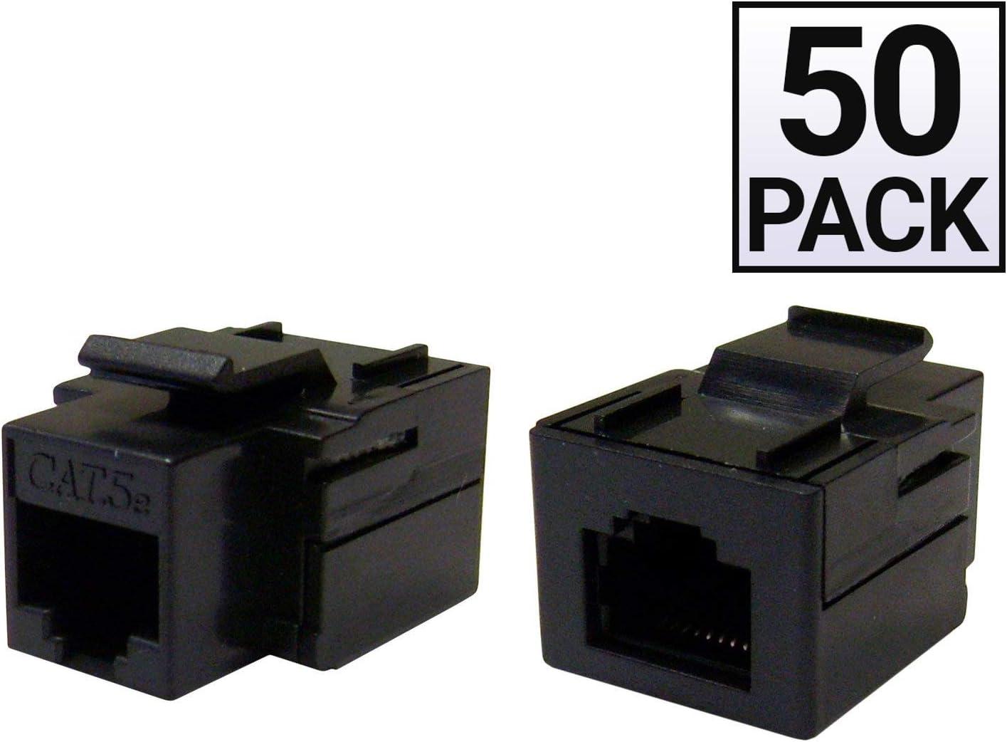 Black GOWOS 50 Pack Cat5e Keystone Inline Coupler RJ45 Female