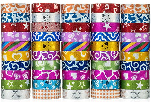 50 Rolls Glitter Washi Tape - Decorative Masking Tape Set for DIY, Scrapbooking, Gift Wrapping, Arts and Crafts Supplies
