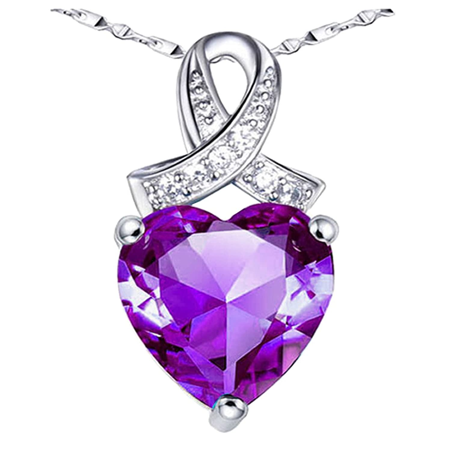 Sterling Silver Created Blue Topaz / Amethyst Heart Shaped Pendant Necklace, 18