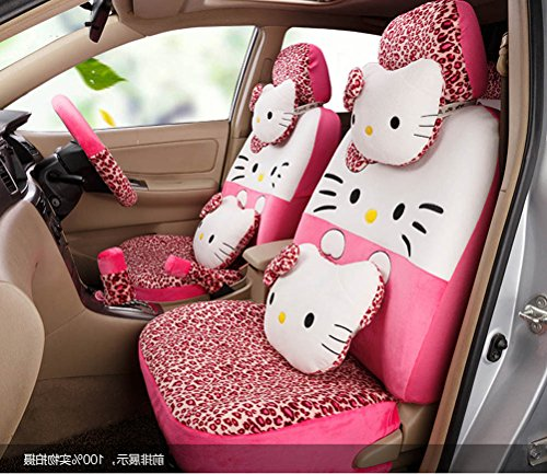 1 set classical cartoon peach leopard fashion universal car front and back seat covers car waist pillows neck pillows hand brake cover by weiwei26 (Image #3)