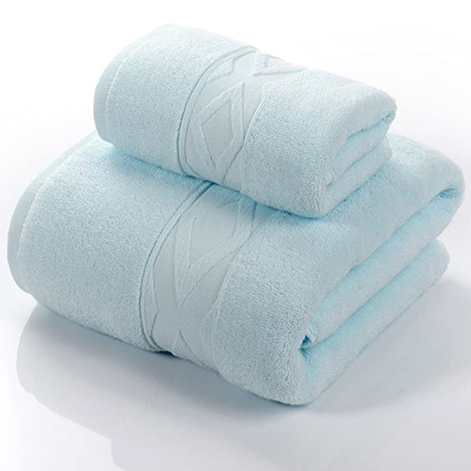 Toalla de baño suave traje de toalla Toallas de algodón Toalla de algodón 2 juegos de toallas Aumentar niños adultos engrosados (4 colores opcional) -Fuerte ...