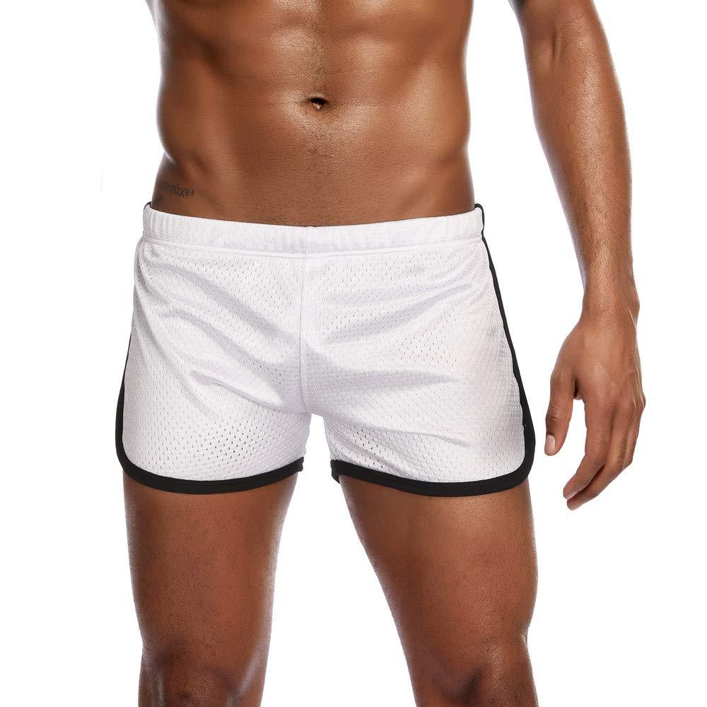 ANJUNIE Mens New Nylon Mesh Sports Shorts Flat-Angle Track and Field Trousers Shorts Pant