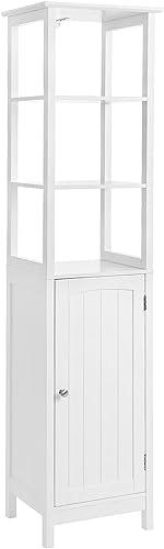 VASAGLE Floor Cabinet, Multifunctional Bathroom Storage Cabinet with 3 Tier Shelf, Free Standing Linen Tower, Wooden, White