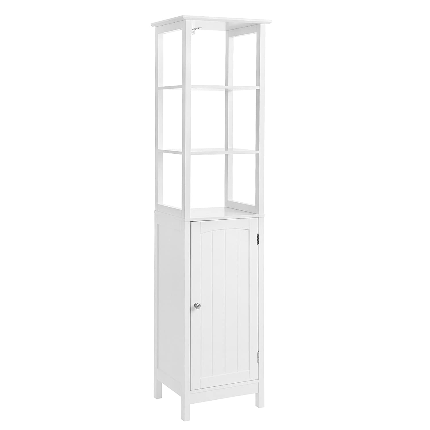 VASAGLE Floor Cabinet, Multifunctional Bathroom Storage Cabinet with 3 Tier Shelf, Free Standing Linen Tower, Wooden, White UBBC63WT