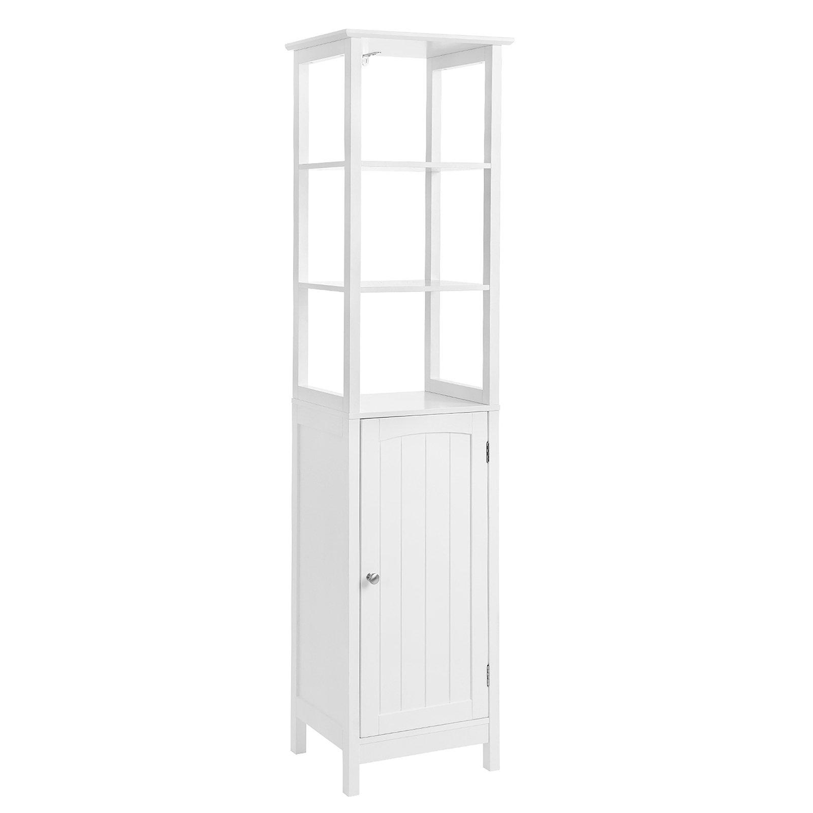 SONGMICS Floor Cabinet, Multifunctional Bathroom Storage Cabinet with 3 Tier Shelf, Free Standing Linen Tower, Wooden, White, UBBC63WT