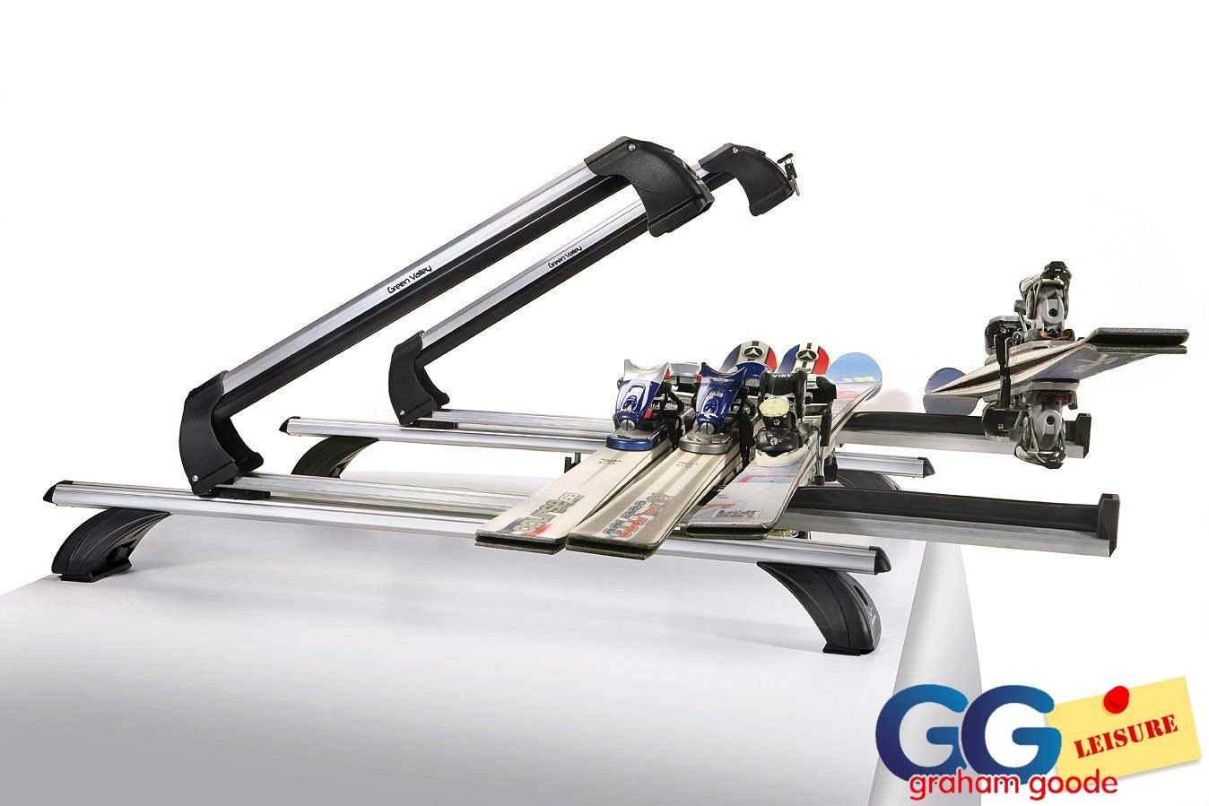 Ski & SnowBoard Carrier | Roof Rack Bar Mounted Holds 6 Sets of Skis Inc T-Track Green Valley