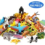 Animal Figures Set of 108 Realistic Assorted 32 Mini Jungle Animals & 24 Ocean Sea Animals & 12 Dinosaurs & 12 Birds & 28 Accessories Party Favors Toys PlaySet For Kids Toddler Educational