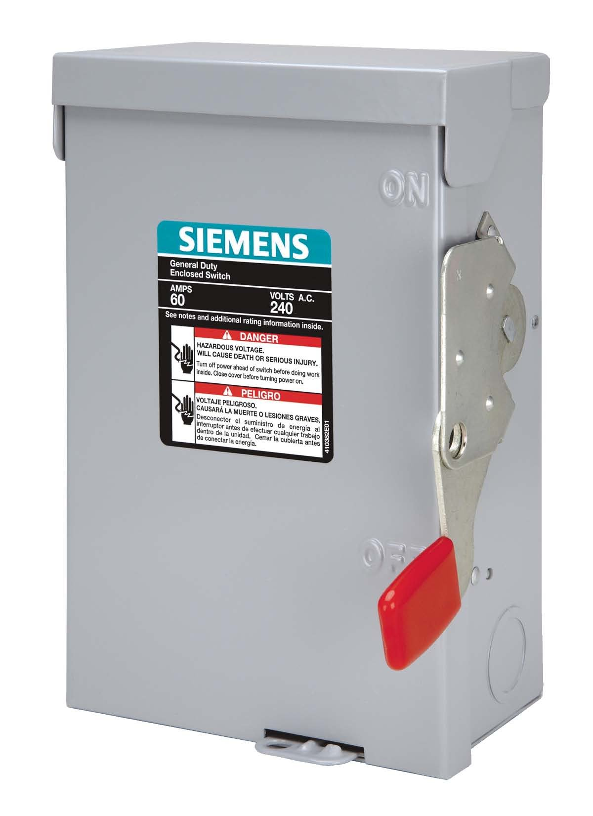 SIEMENS LF111NR 30 Amp, 1 Pole, 120-Volt, PLUG Fused, General Duty, W/N Outdoor Rated