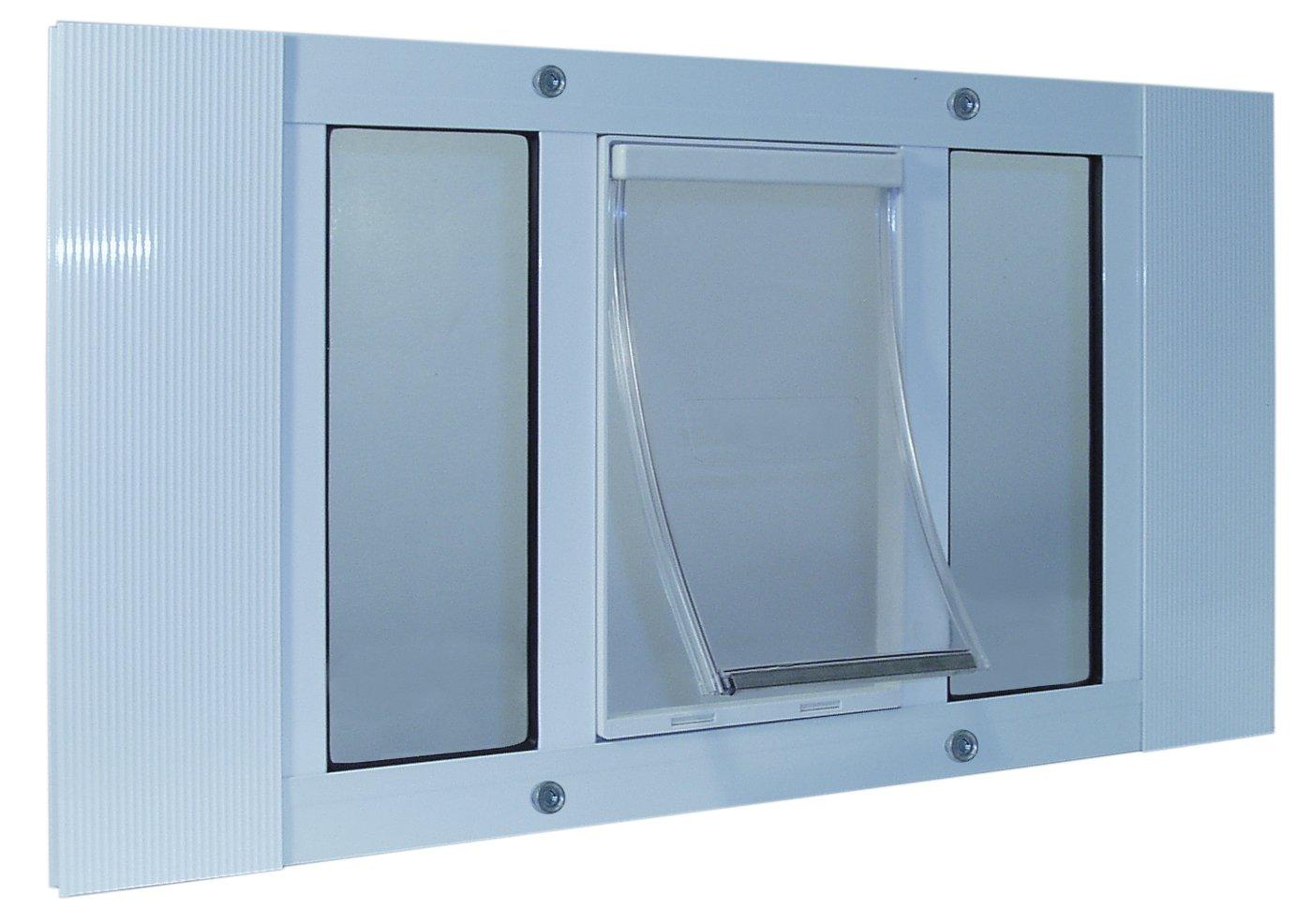 Ideal Pet Products 27'' - 32'' Wide Window Aluminum Sash Window Pet Door W 5'' X 7'' Flap