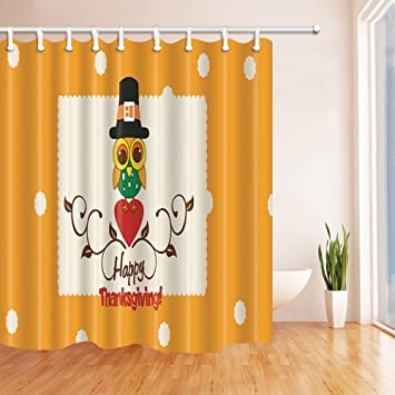 KOTOM Thanksgiving Shower Curtains For BathroomTurkey With Hat And Glasses Stands On Heart
